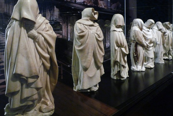 """""""Mourners from the Tomb of Philip the Bold"""", by Claus Sluter and Clause de Werve, circa 1410, at the Museum of Fine Arts in Dijon. Flickr photo by Steven Zucker"""