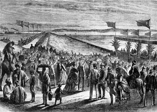 An illustration of the inauguration of the Suez Canal in 1869. Britain's interest in the canal has always been one of the main reasons it seeks to influence Egypt. Uploaded by Wikipedia user Jlorenz1