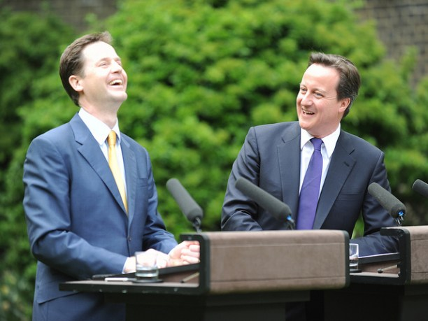 Liberal Democrat leader Nick Clegg (left) and Conservative leader David Cameron announcing their governing coalition in May 2010. Ah, those were happier days! Flickr photo by user Number 10, Crown photo