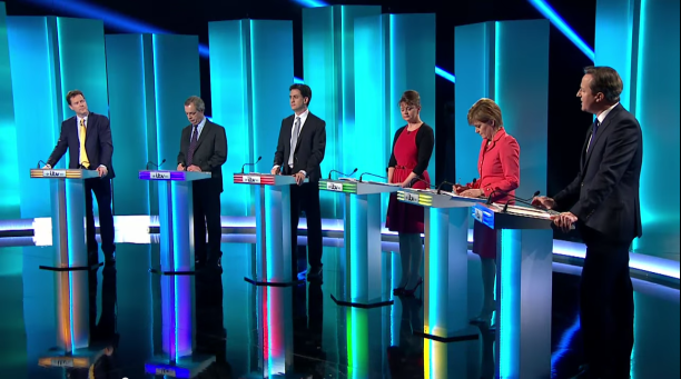The leaders of Britain's major political parties (including a seventh not pictured) participated in a TV debate last month prior to the 2015 UK general election. Screenshot of ITV's coverage of the debate taken from YouTube channel of Sky News