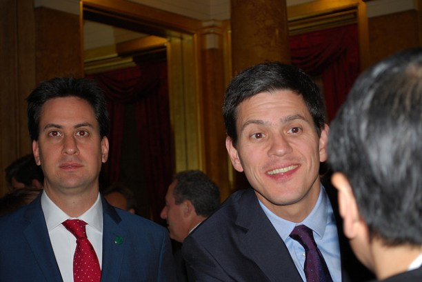 Brothers Ed Miliband (left) and David Miliband (right) at an event in 2008, prior to the leadership race that strained their relationship. Flickr photo by Department of Energy and Climate Change, Crown copyright