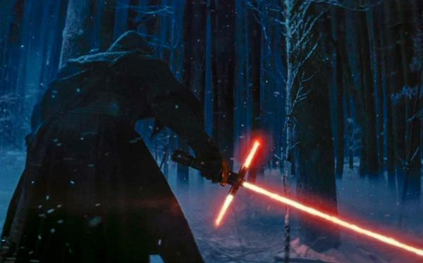 "Kylo Ren and his unique light saber in ""The Force Awakens"""