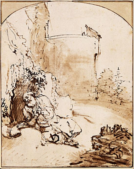 """The Prophet Jonah before the Walls of Nineveh"" - drawing by Rembrandt van Rijn, circa 1655"