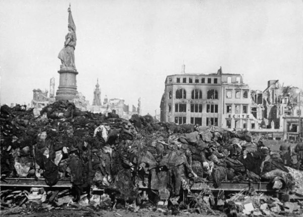 The bodies of civilians killed during the WWII bombing of Dresden, Germany are piled for cremation. Photo from the German Federal Archive.