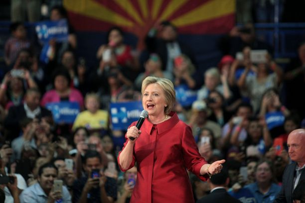 Hillary Clinton speaking at a campaign event in Phoenix during her 2016 presidential campaign. Photo by Gage Skidmore.