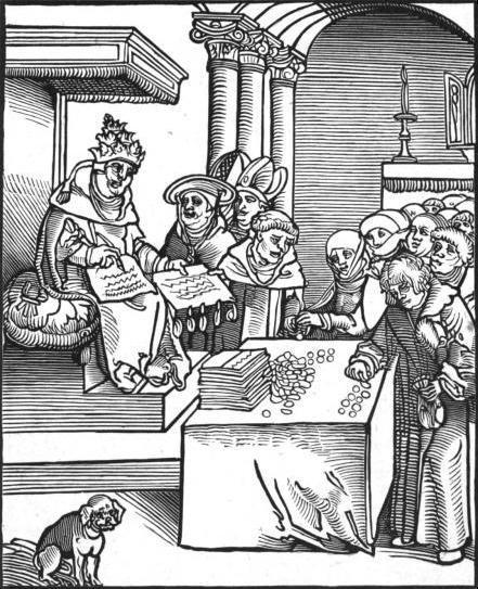 Woodcut by Lucas Cranach the Elder portraying the pope selling indulgences, circa 1521