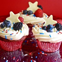 Red, White and Blue Velvet Cupcakes