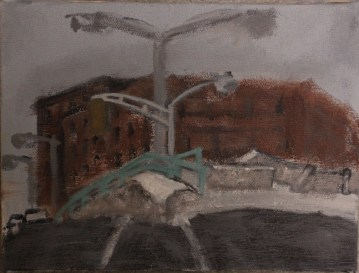 Corner of Peters St and Spring St, Atlanta, 1998. Acrylic on canvas.