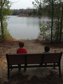 kids bench lake