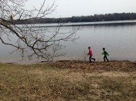 kids running lake