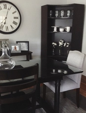 dining room table and book shelf