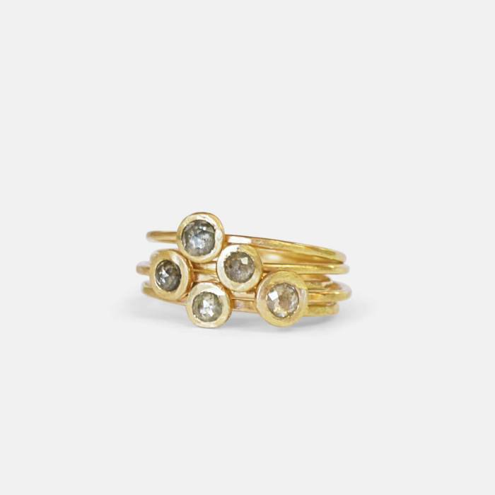 Hammered 14k gold Rose Cut diamond Stack Rings - Amy Nordstrom