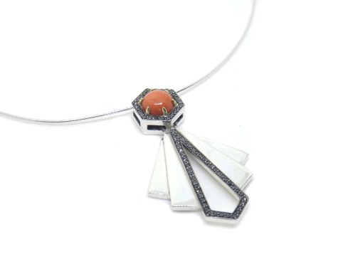Art Deco Hexagons, silver, black diamonds, black rhodium, 14ct yellow gold, coral