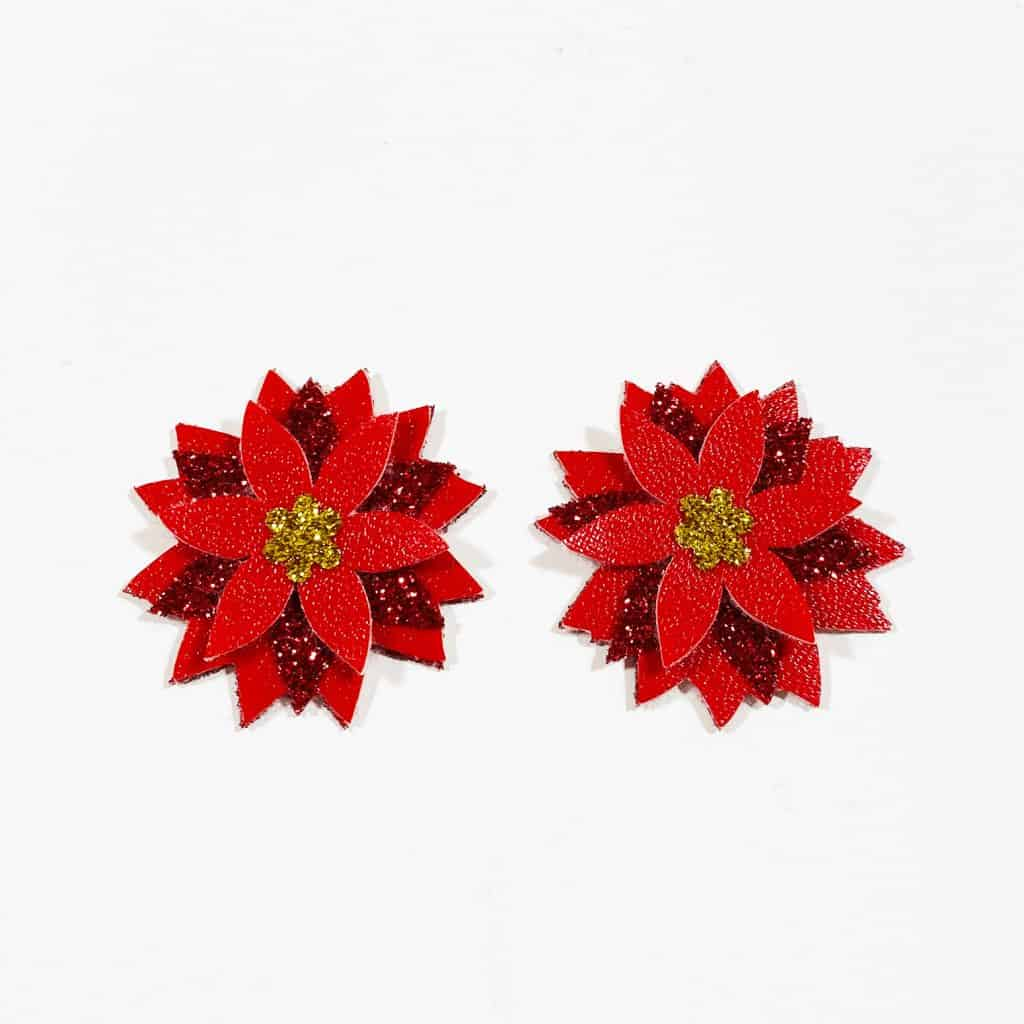 pressed poinsettia earrings