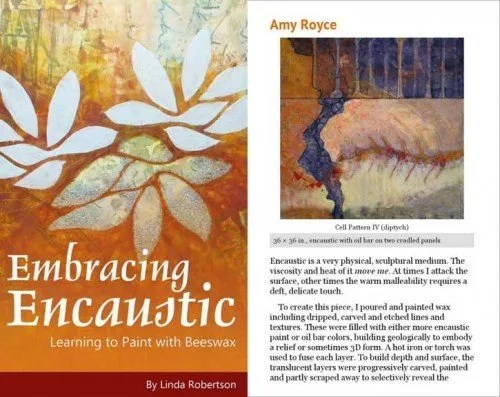 Embracing Encaustic pages for artist Amy Royce
