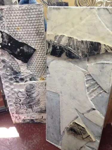 Plaster printmaking, works in progress