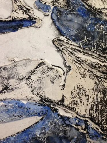 Plaster printmaking and encaustic, work in progress
