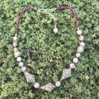 Floral Silver and Glass Necklace