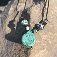 Chrysacolla drop and silver necklace