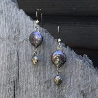 Freshwater Pearl and Leaf Earrings