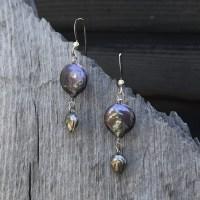 Freshwater Pearl and Leaf Earrings