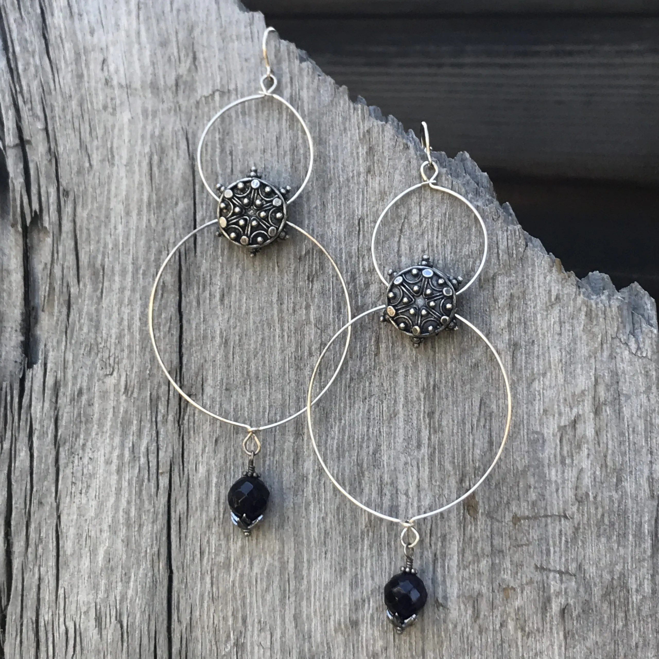 Amethyst Double Hoop Earrings