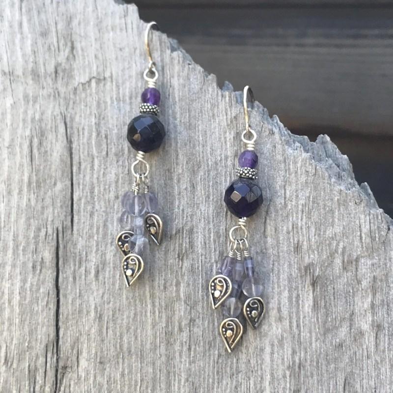 Amethyst and Iolite Drop Earrings