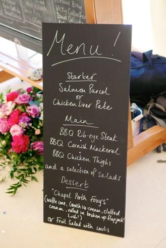 Blackboard dinner menu