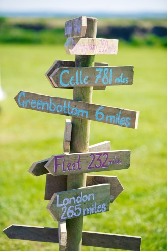 A signpost pointing to all the places our guests had travelled from with the distance they had travelled