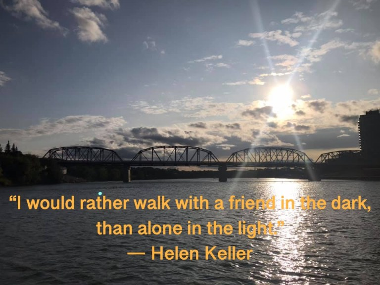 Helen Keller Walking with Friend