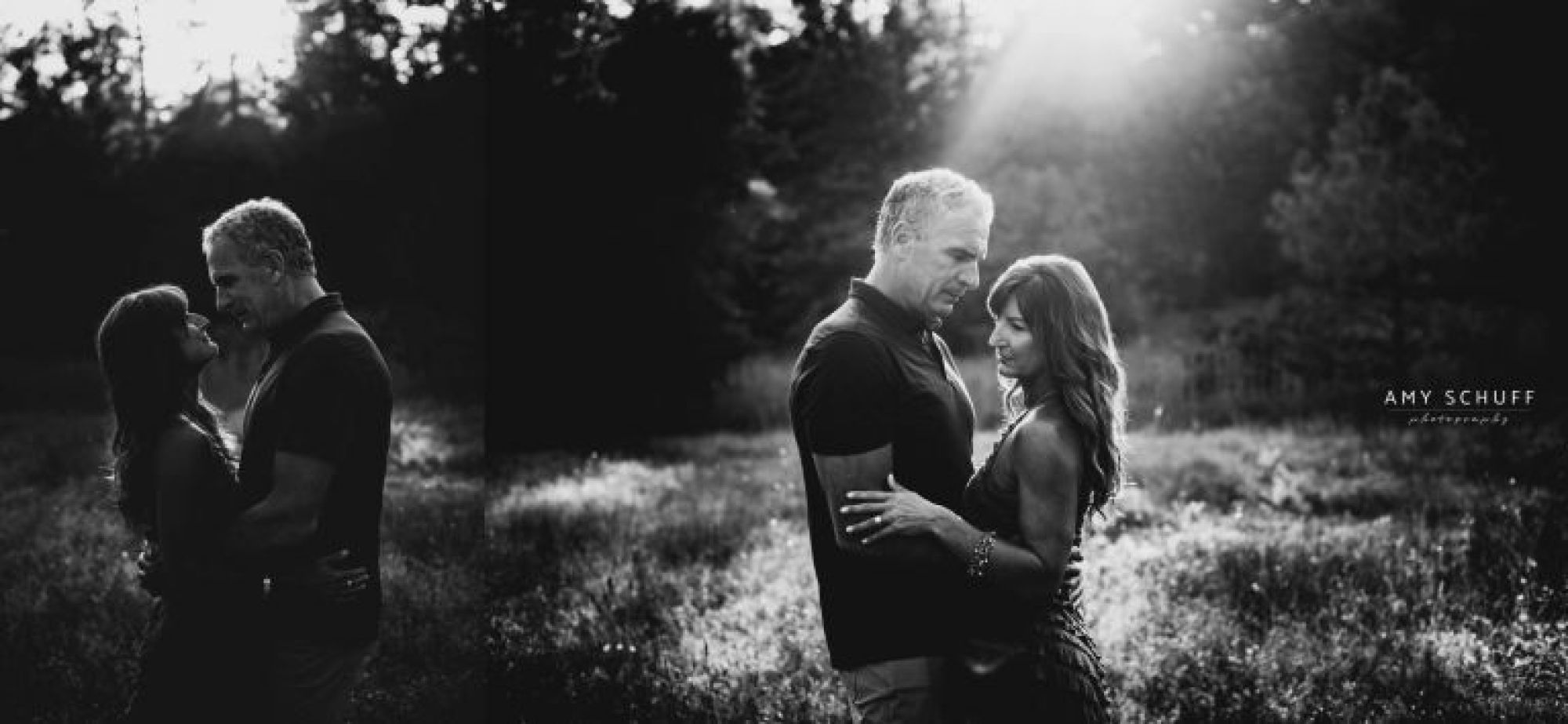 Black and white photos of engaged couple