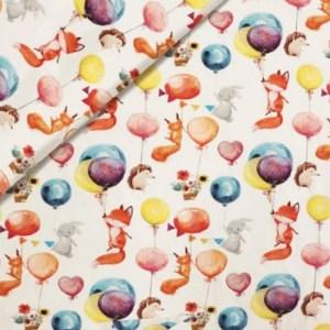 Tricot - Bosdieren en ballonnen WIT