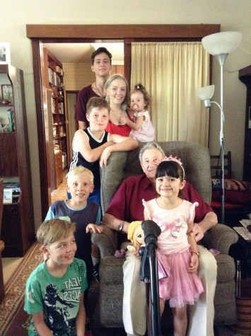Valentine with some of his great grandchildren