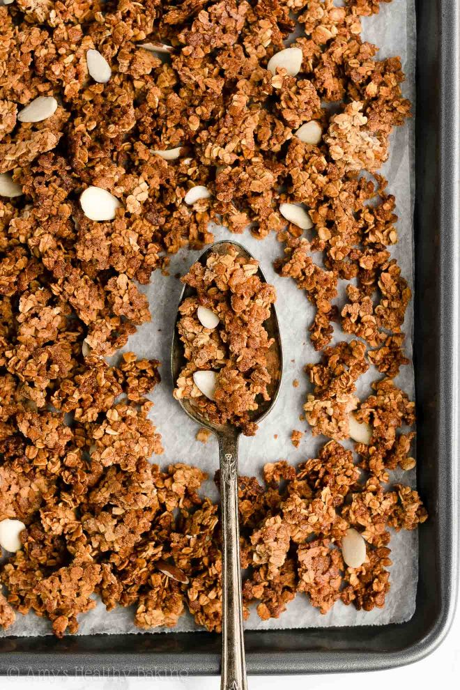 Easy Healthy Homemade Oil Free Low Fat Low Sugar Almond Butter Granola