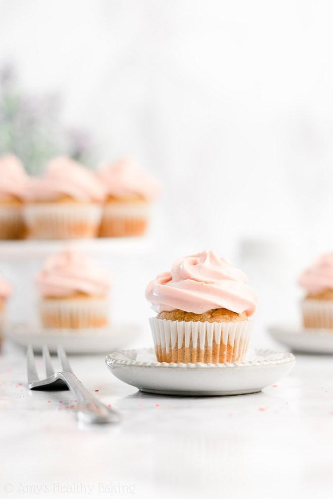 Easy Healthy Small Batch Mini Banana Cupcakes + Greek Yogurt Strawberry Frosting