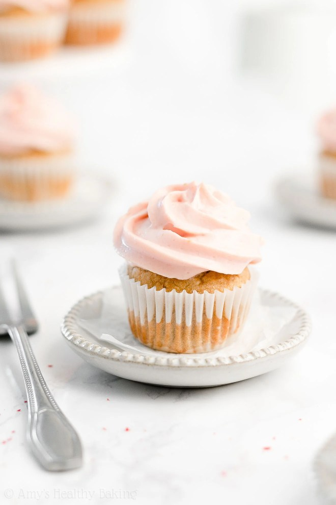 Easy Healthy Low Calorie Small Batch Mini Banana Cupcakes + Strawberry Frosting