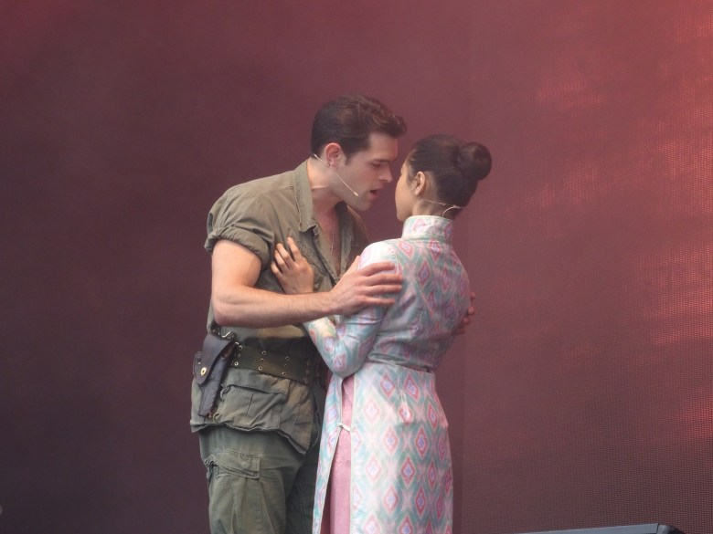 Eva Noblezada and Chris Peluso as Kim and Chris at West End Live in Miss Saigon
