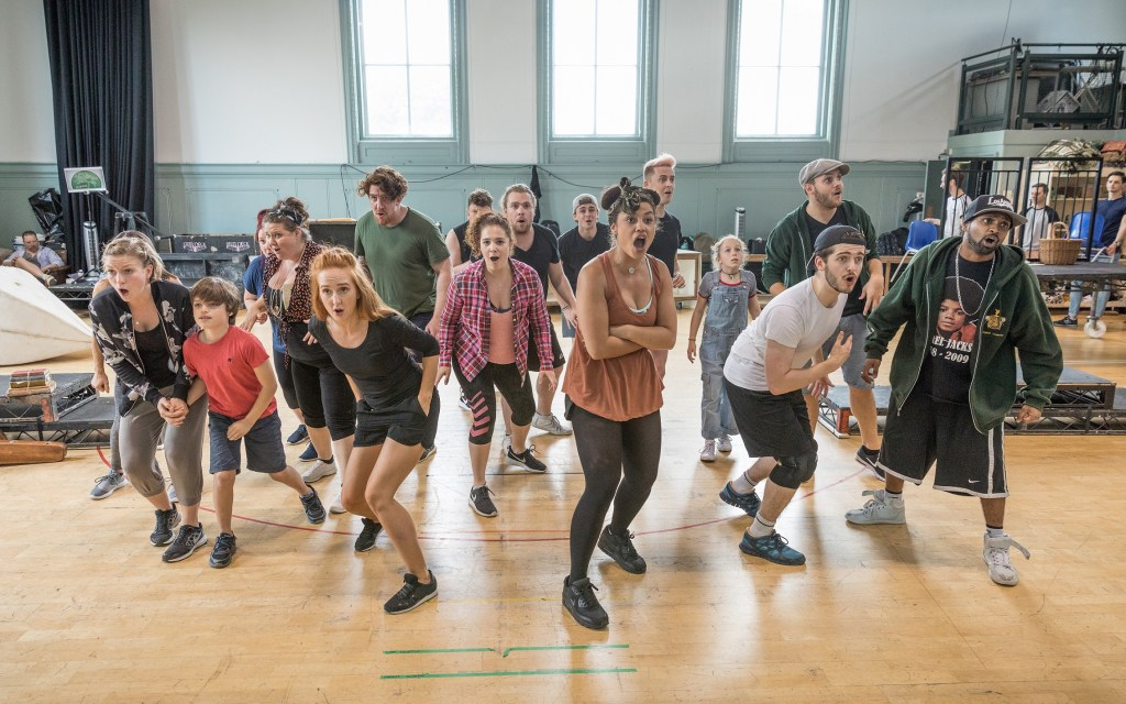 The company of The Wind in the Willows in rehearsals