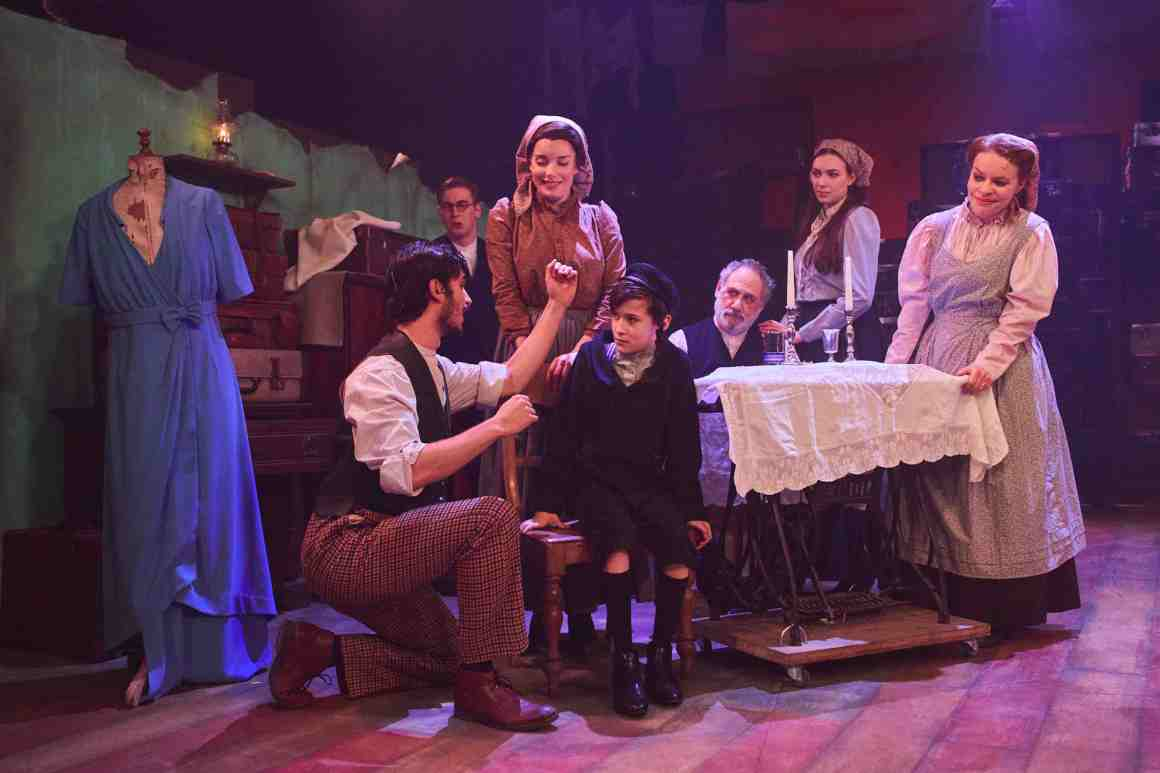 Robert Tripolino as Sal, Rebecca Trehearn as Rebecca and the cast of RAGS. Credit Nathan Chandler