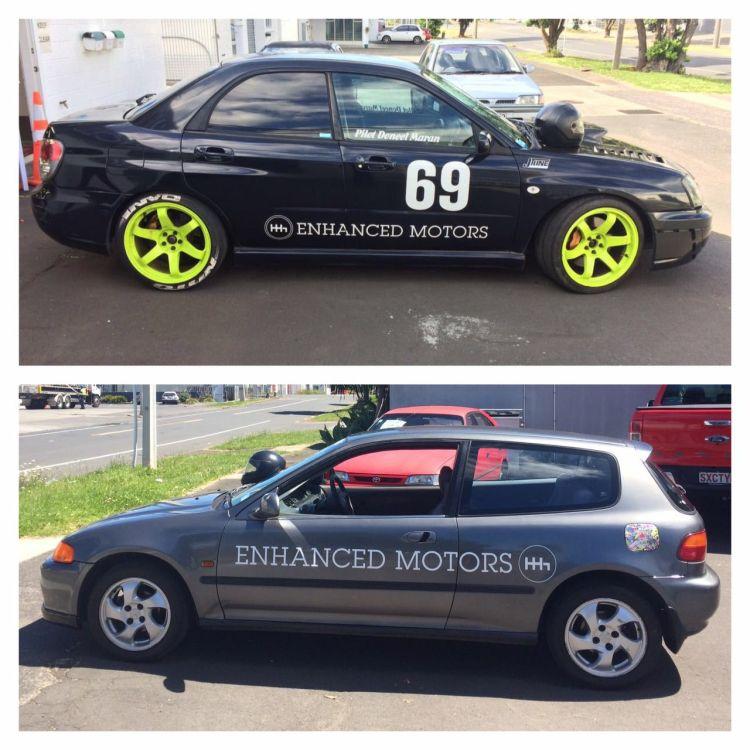 Enhanced Motors - Startup branding design - Sponsored Race Car - Auckland