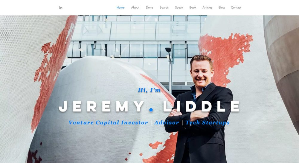 We designed the digital showcase for Jeremy Liddle's entire entrepreneurial career.