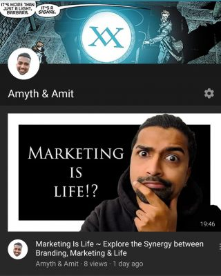 "Marketing Is Life ~ It's a book, it's an IGTV video series and now a YouTube channel! .  When you're on YouTube going on a video watching spree for hours, add these bad boys to your watchlist. .  As they all say please subscribe for life changing videos 😂🙏🏽 oh and hit that 🔔 to stay notified. . A wise man once said, ""Knowledge shared is power multiplied!"" #amythandamit #MarketingisLife #marketingtips  #brandingtips #creativeagencysydney #thebrandman"