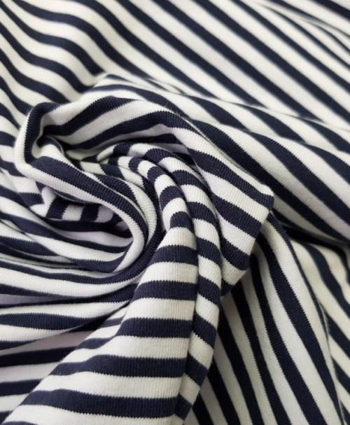 Jersey Ringel weiß/nachtblau