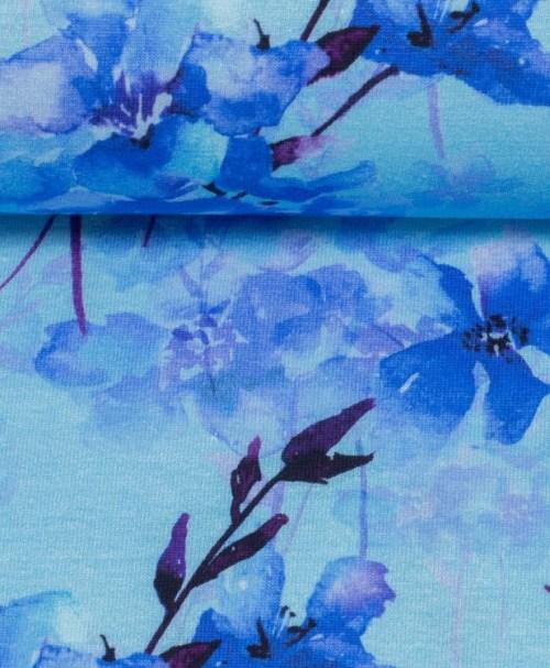 Jersey Jonne Aquarellblumen blau