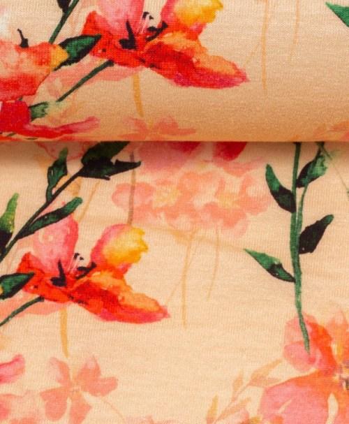Jersey Jonne Aquarellblumen apricot