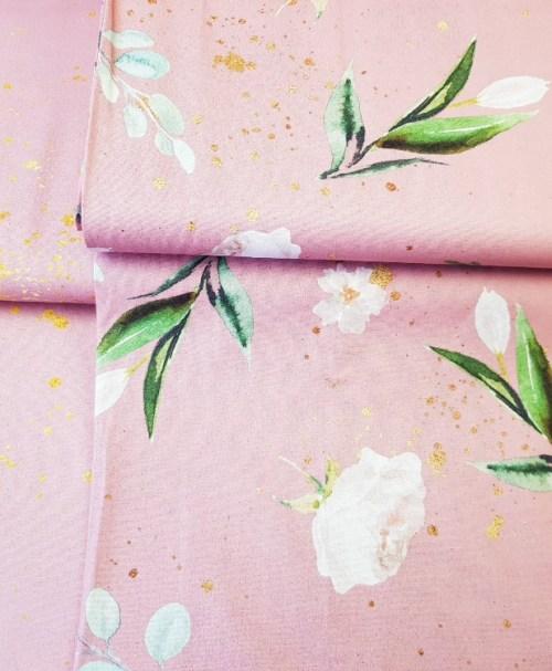 Baumwolle Webware Kim – Blumen und Goldsprenkel altrosa