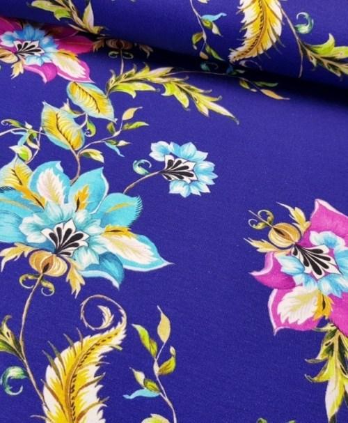 Jersey Blumenranken royalblau