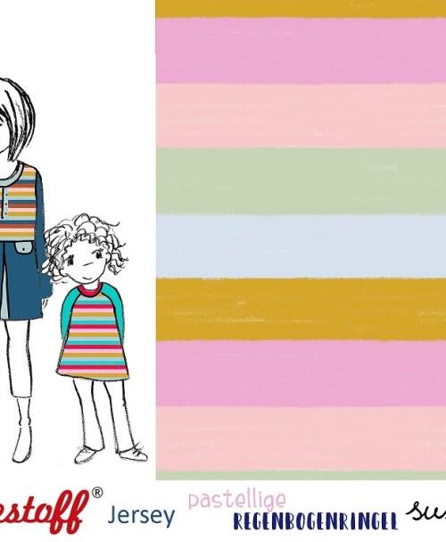 VORBESTELLUNG Lillestoff Jersey Regenbogenringel, pastell