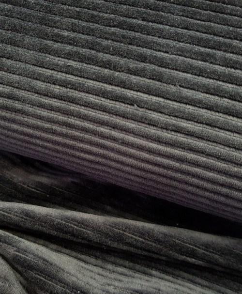 Rippenjersey / Breitcord-Jersey schwarz