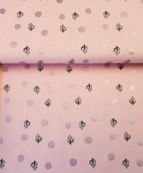 Klaranähta Webware Baumwolle Blätter/Punkte Metallicprint rosa